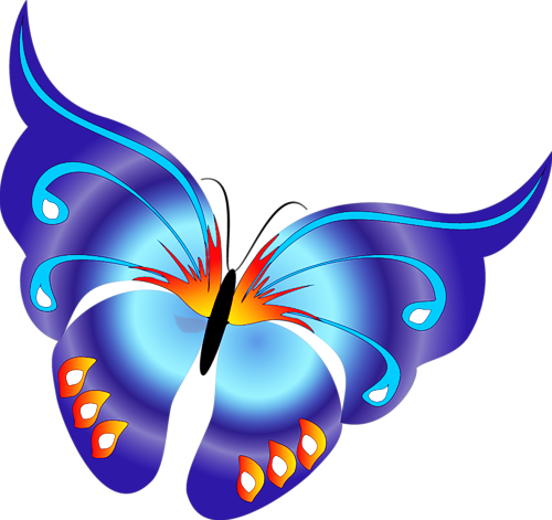 Blue Butterfly Cartoon Clipart