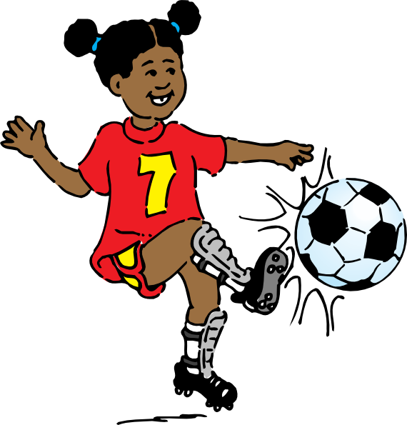 Girls Playing Soccer Clipart